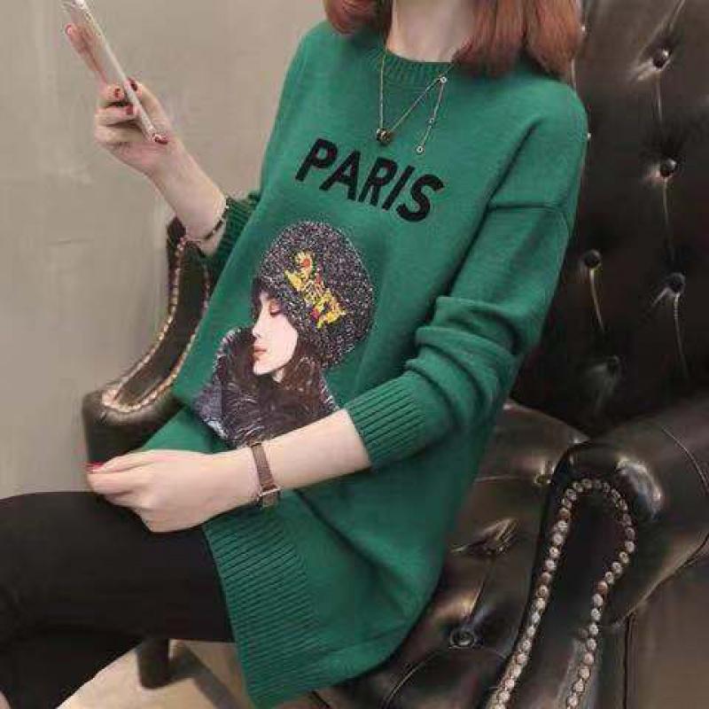 绿色连衣裙 34秋冬新款中长款针织衫长袖打底宽松大码显瘦毛衣女百搭连衣裙潮_推荐淘宝好看的绿色连衣裙