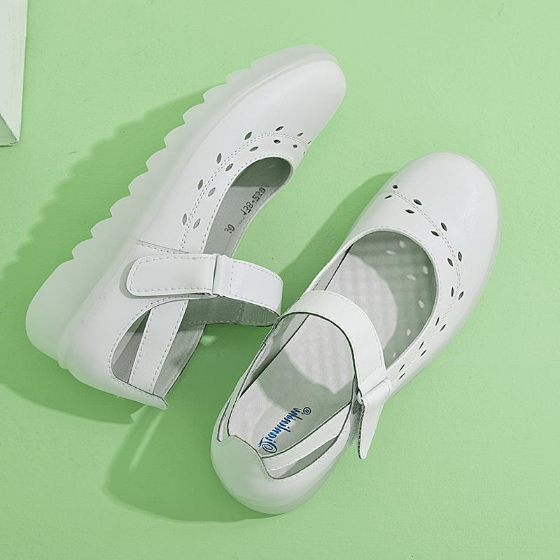 白色坡跟鞋 护士鞋女厚底增高防臭透气垫软底白色坡跟舒适防滑平底不累脚夏季_推荐淘宝好看的白色坡跟鞋