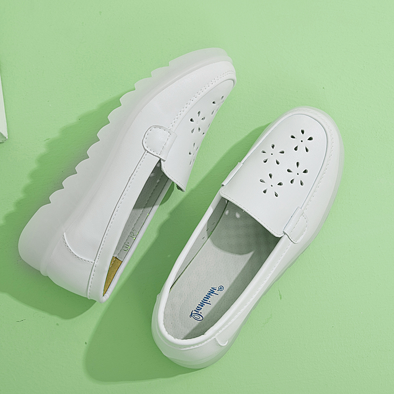 白色厚底鞋 护士鞋女平底夏季软底透气厚底白色增高舒适防臭可爱不臭脚春秋款_推荐淘宝好看的白色厚底鞋