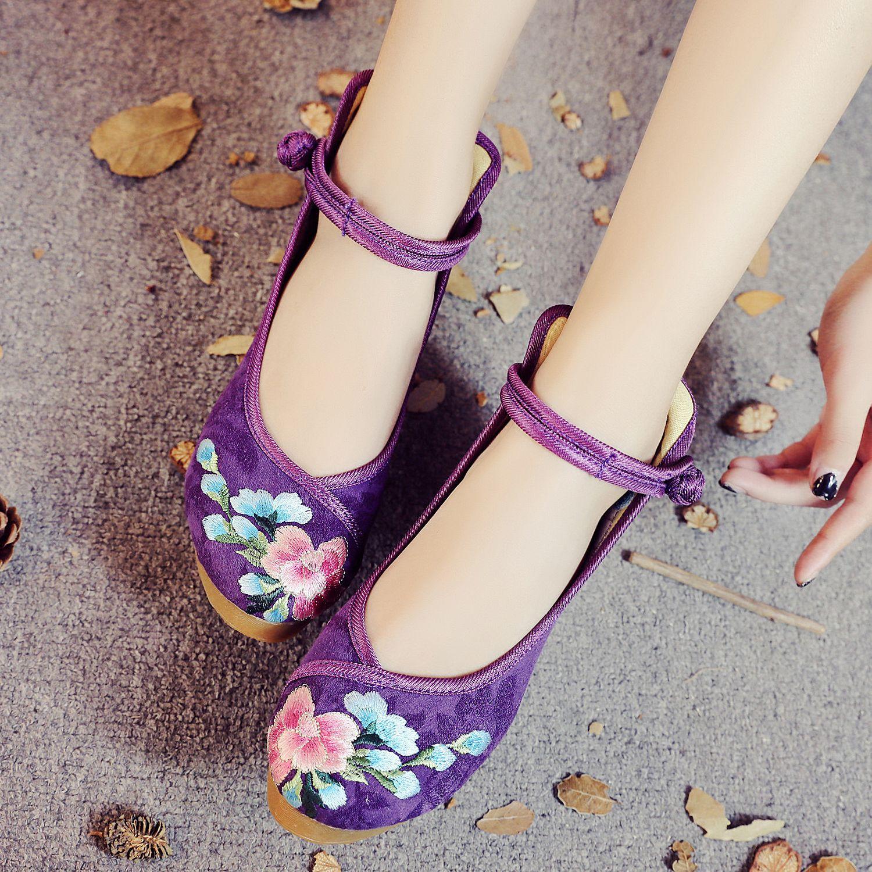 紫色单鞋 春夏女鞋5厘米高跟单鞋牡丹绣花布鞋内增高高坡跟女鞋紫色粉色鞋_推荐淘宝好看的紫色单鞋