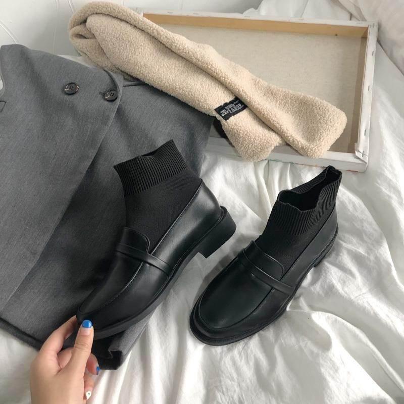 靴子 矮跟单短靴女2020年新款春季薄款夏天靴子透气低筒百搭小皮鞋四季_推荐淘宝好看的女靴子