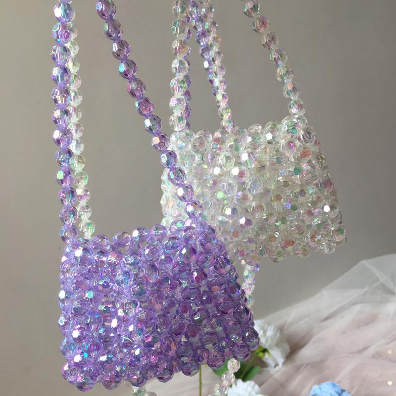紫色迷你包 编织单肩小包紫色闪亮斜挎包手工DIY材料包珍珠包包夏女迷你小包_推荐淘宝好看的紫色迷你包