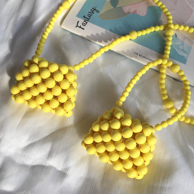 黄色斜挎包 手工包黄色手提珍珠包包女朋友礼物DIY材料包迷你小包编织斜挎包_推荐淘宝好看的黄色斜挎包