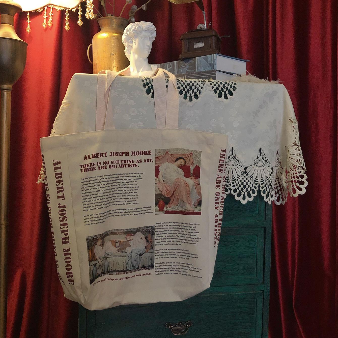 女士复古手提包 梦色者·欧洲协奏曲·油画帆布包女大容量复古学生手提ins风单肩_推荐淘宝好看的女复古手提包