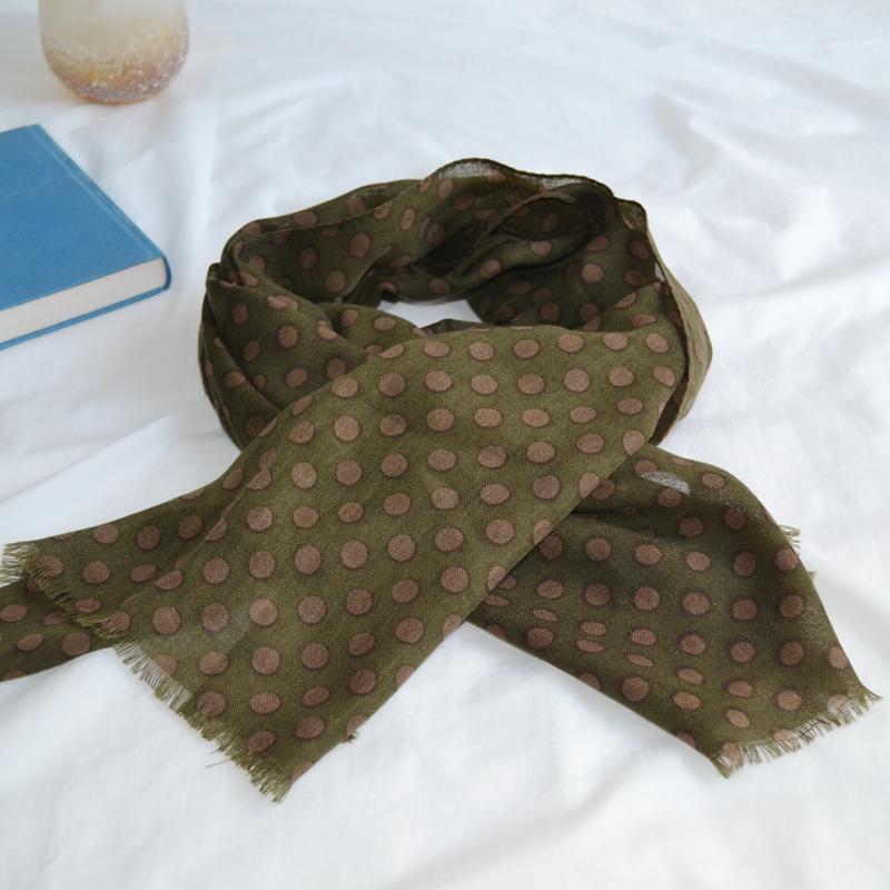 玛丝菲尔女装折扣店 玛丝菲尔 100%羊毛围巾 长巾 经典波点 不过时_推荐淘宝好看的玛丝菲尔