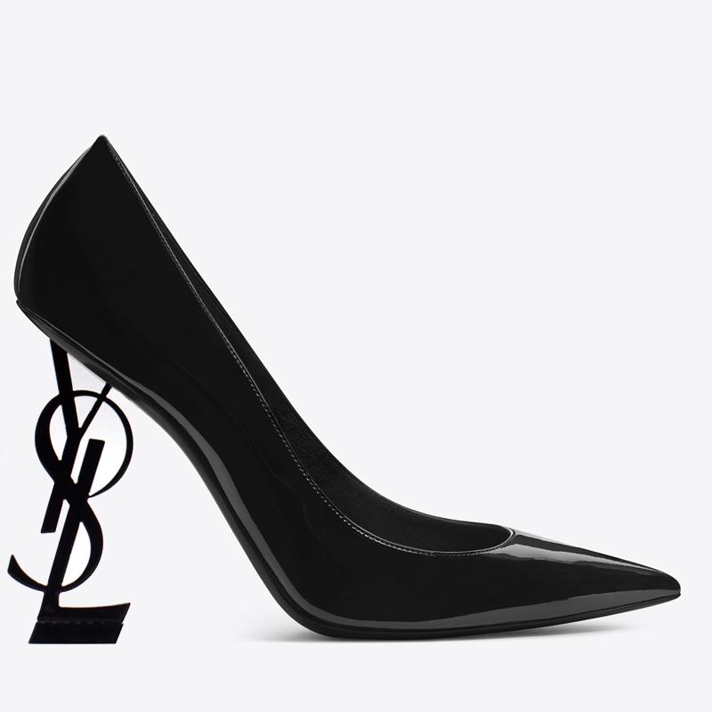 黑色单鞋 2021新款黑色漆皮法式名媛网红细跟字母高跟鞋超浅口尖头女单鞋_推荐淘宝好看的黑色单鞋
