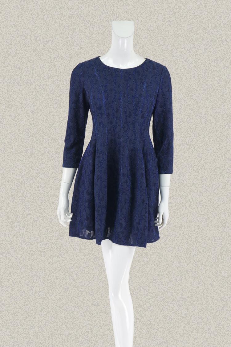八分袖连衣裙 新!蕾DOW 正品 夹亮丝提花八分袖小个女秋冬修身连衣裙L5AB14012_推荐淘宝好看的八分袖连衣裙
