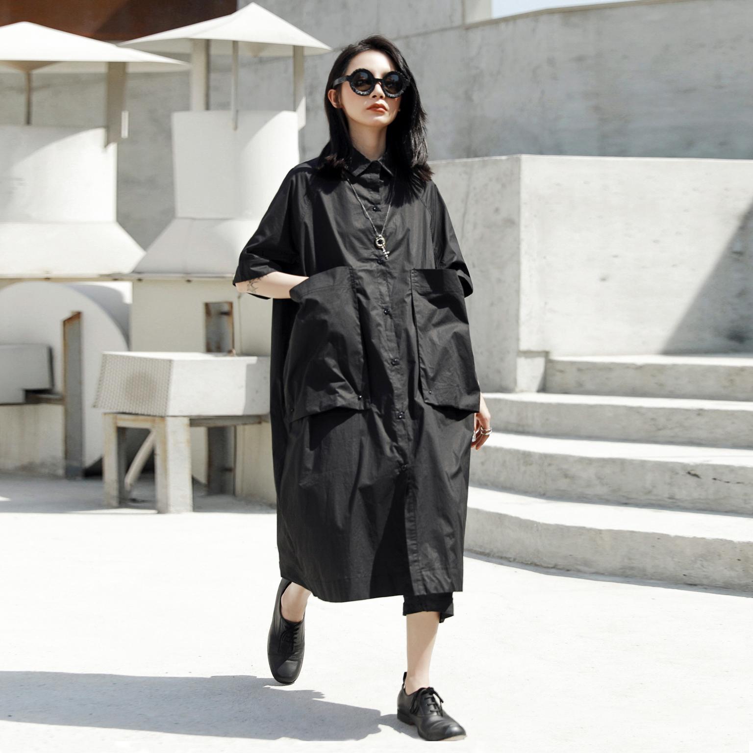 宽松大码连衣裙 SIMPLE BLACK 夏季新款暗黑风简约宽松大码短袖衬衫连衣裙_推荐淘宝好看的宽松大码连衣裙