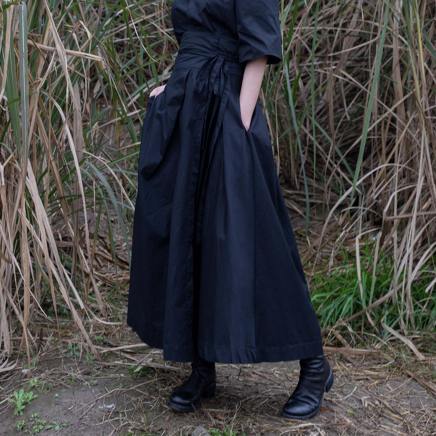 女半身裙 SIMPLE BLACK  秋季ss暗黑中世纪风格褶皱绑带蓬蓬裙高腰半身裙女_推荐淘宝好看的半身裙