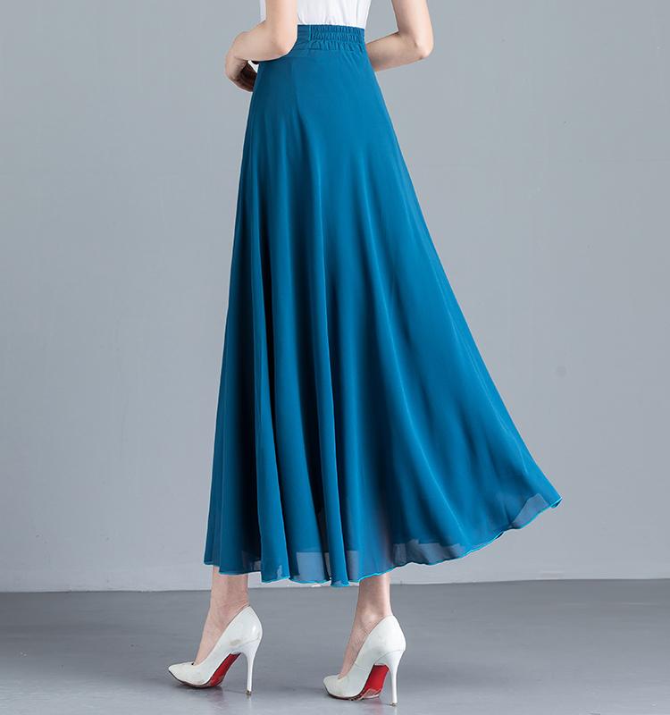 红色半身裙 2020夏季新款纯色红色雪纺半身裙女高腰A字大摆跳舞裙大码长裙子_推荐淘宝好看的红色半身裙
