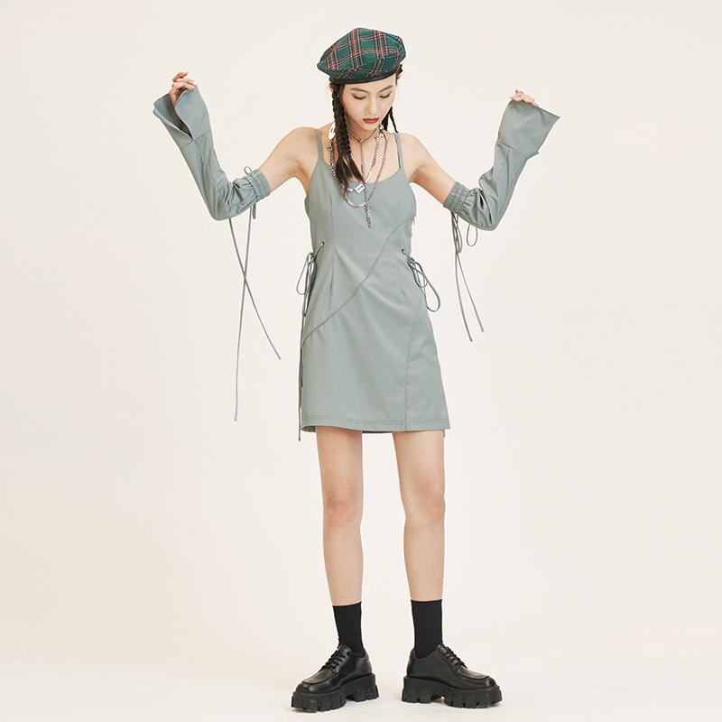 吊带连衣裙 PATRIX原创小众设计感抽绳连衣裙女夏收腰显瘦一字肩吊带仙女短裙_推荐淘宝好看的吊带连衣裙