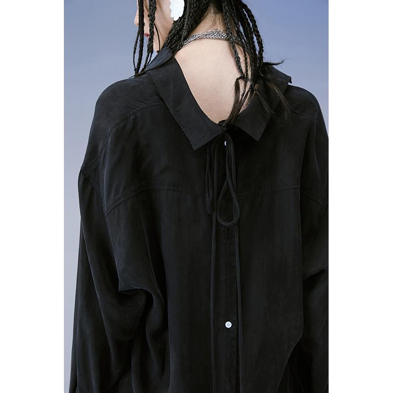女士长款衬衫 PATRIX原创衬衫女复古港味2020年秋季长袖小众垂感中长款开衫上衣_推荐淘宝好看的女长款衬衫