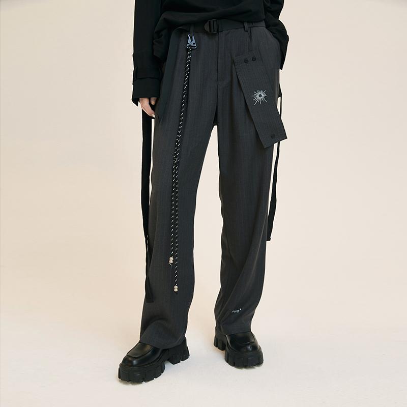 条纹休闲裤 PATRIX原创设计条纹灰色直筒裤女显瘦百搭宽松休闲日系西式女长裤_推荐淘宝好看的女条纹休闲裤