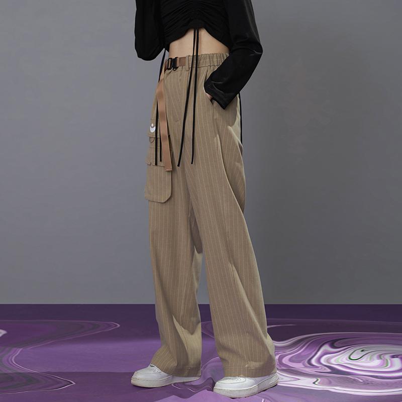 条纹休闲裤 PATRIX原创设计超显瘦卡其色条纹休闲西裤女直筒宽松高腰垂感秋季_推荐淘宝好看的女条纹休闲裤