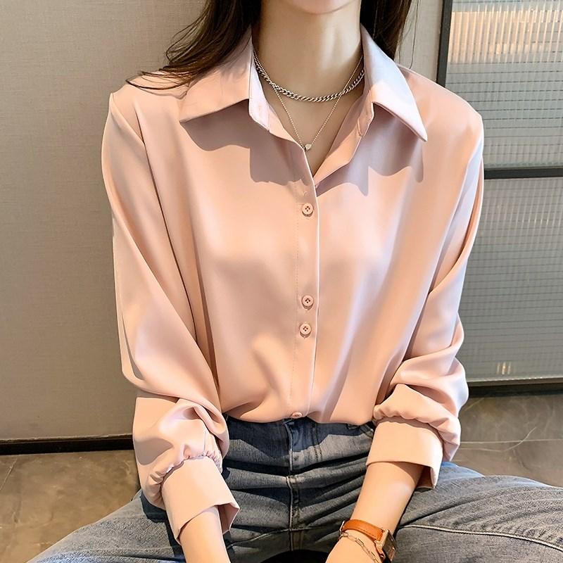 粉红色雪纺衫 夏季粉红色雪纺衬衫2021年乔其纱女夏新款上衣大码胖mm220斤宽松_推荐淘宝好看的粉红色雪纺衫