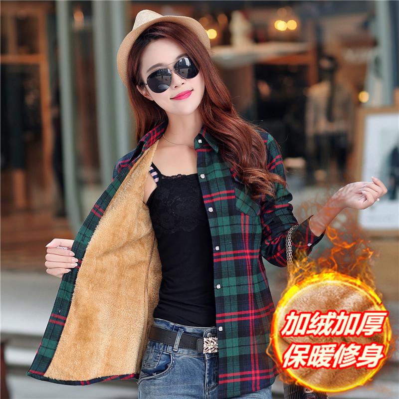 加厚格子衬衫 冬季纯棉加绒格子衬衫女韩版长袖加厚保暖外套格子长袖衬衣女士_推荐淘宝好看的女加厚格子衬衫