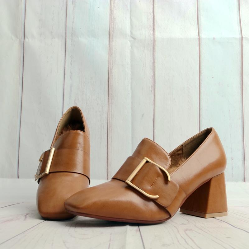 时尚单鞋 冬季高跟粗跟软皮女鞋子皮带扣时尚兔毛垫休闲鞋女士单鞋子Y25-1_推荐淘宝好看的女时尚单鞋
