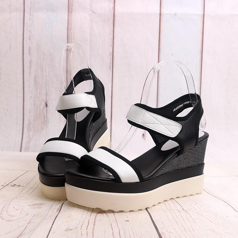 坡跟罗马鞋 2020新款魔术贴高跟坡跟拼色时尚牛皮真皮女鞋女士罗马凉鞋子P10_推荐淘宝好看的坡跟罗马鞋