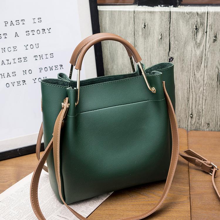 绿色单肩包 包包女2020新款女包水桶包潮韩版简约百搭斜挎包手提包单肩包大包_推荐淘宝好看的绿色单肩包