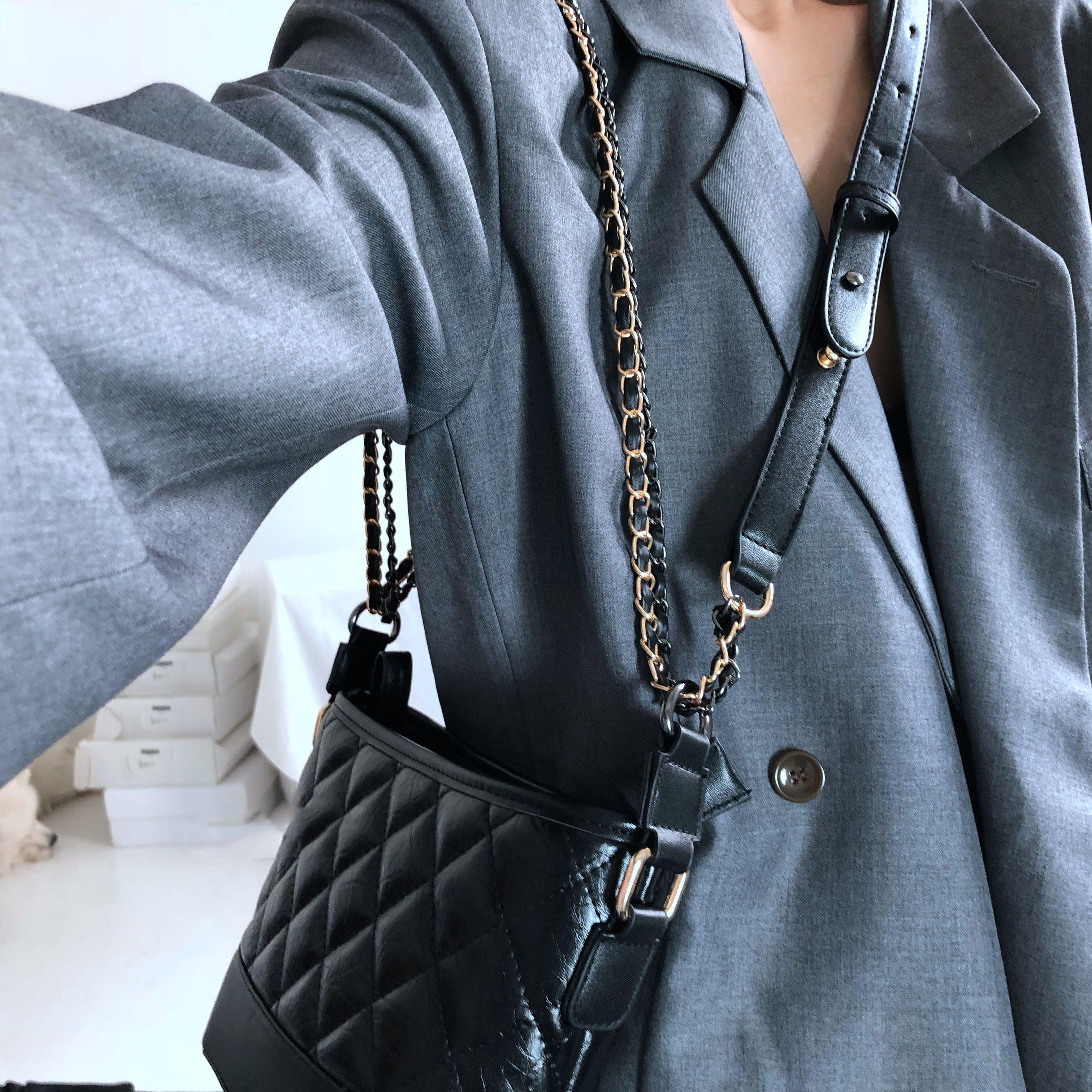 黑色链条包 包包女包新款2021时尚菱格黑色流浪包复古简约百搭链条单肩斜挎包_推荐淘宝好看的黑色链条包