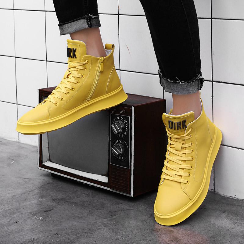 黄色厚底鞋 高帮鞋男厚底板鞋拉链软底韩版潮流秋季黄色软皮面嘻哈潮鞋休闲鞋_推荐淘宝好看的黄色厚底鞋