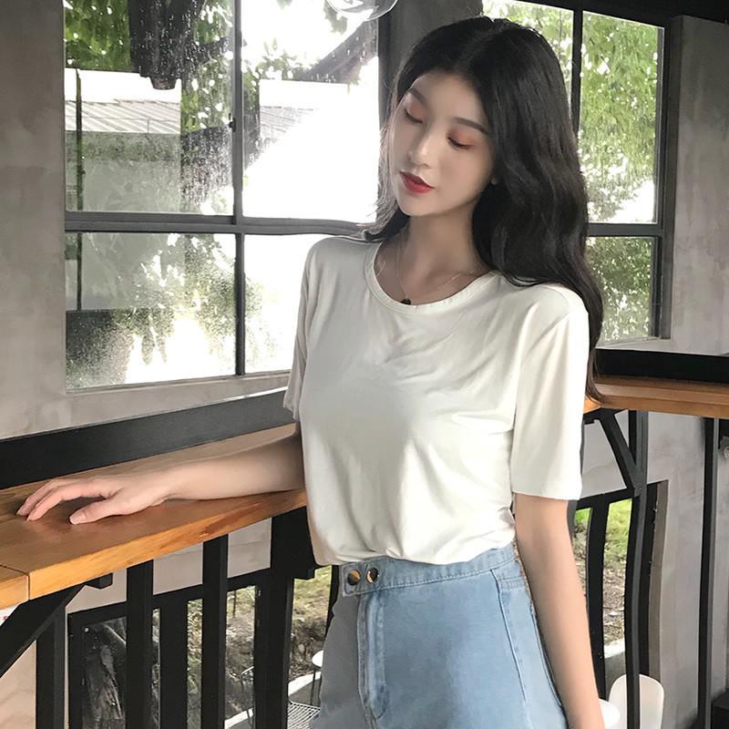 黄色T恤 圆领短袖t恤大码女装夏季新款韩版黑色宽松T莫代尔低领面膜衣体恤_推荐淘宝好看的黄色T恤
