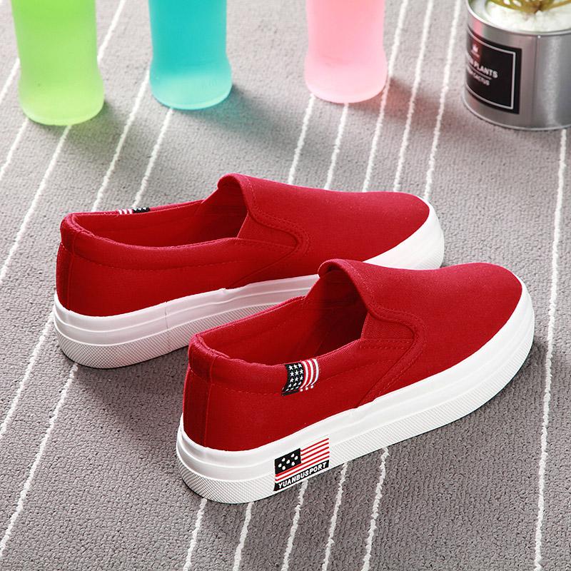 红色帆布鞋 远步大红色板鞋女秋季透气厚底韩版女鞋帆布鞋子潮平底懒人布鞋女_推荐淘宝好看的红色帆布鞋