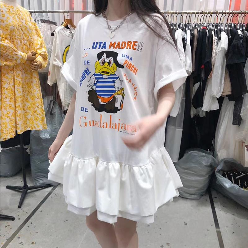 娃娃领短袖连衣裙 韩国女装2020夏季新品可爱卡通印花设计师款短袖荷叶边娃娃连衣裙_推荐淘宝好看的娃娃领短袖连衣裙