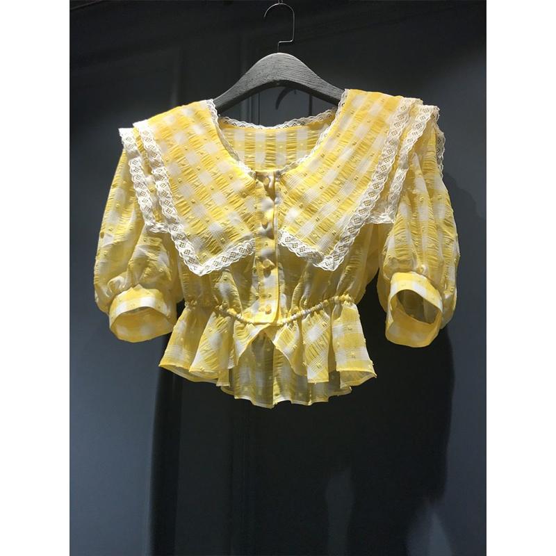 女格子衬衫 韩国东大门2020夏款女装 甜美复古气质格子可爱翻领短袖衬衫_推荐淘宝好看的女格子衬衫