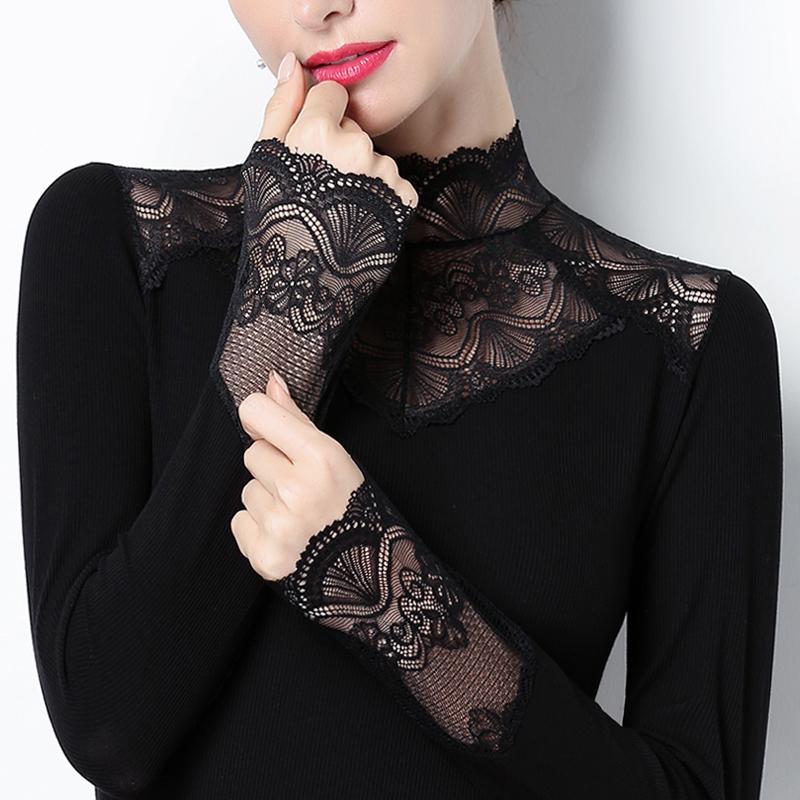 修身打底上衣 蕾丝打底衫立领黑色内搭上衣2021春装洋气修身百搭镂空小衫长袖女_推荐淘宝好看的女修身打底上衣