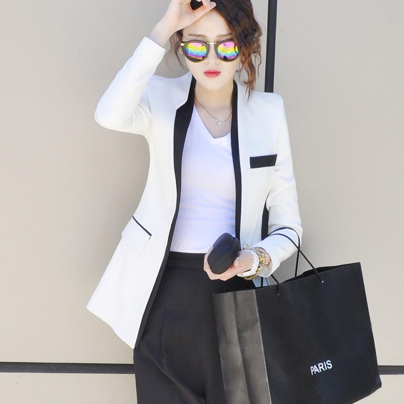 修身休闲外套 2021春秋装新款韩版修身收腰休闲百搭气质白色西装外套女短款西服_推荐淘宝好看的女修身休闲外套