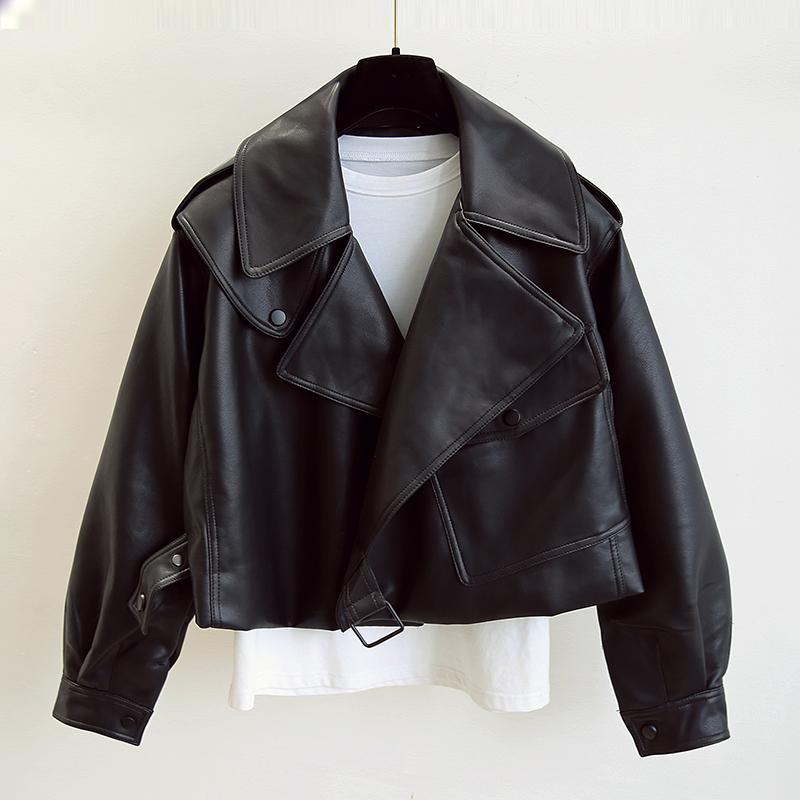白色皮衣 皮衣外套女短款2020年新款韩版宽松时尚黑色机车pu皮夹克周放同款_推荐淘宝好看的白色皮衣