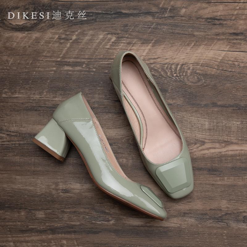 绿色单鞋 迪克丝春秋牛漆皮亮面单鞋女方扣淡绿色真皮粗跟中跟浅口方头女鞋_推荐淘宝好看的绿色单鞋