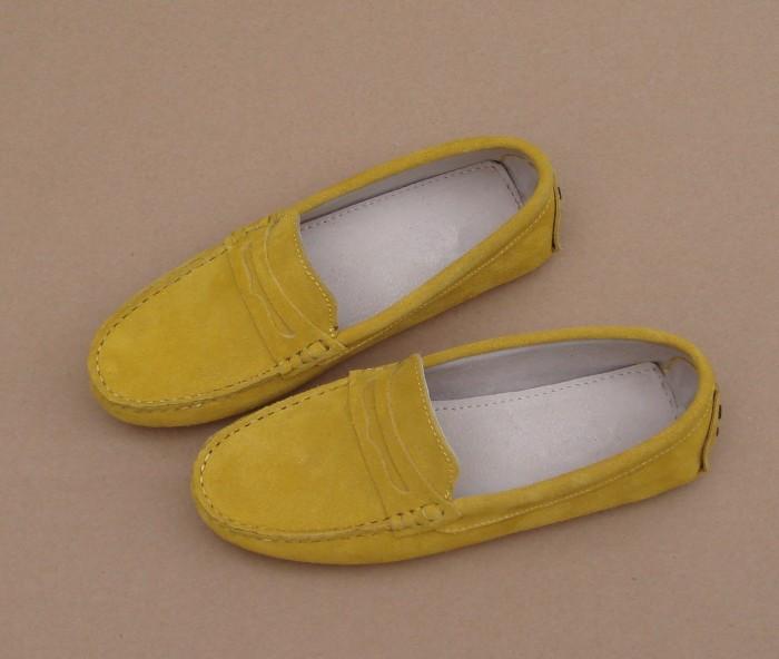 黄色豆豆鞋 春季秋季韩版女鞋牛皮真皮豆豆鞋女透气单鞋柠檬黄色休闲鞋开车鞋_推荐淘宝好看的黄色豆豆鞋