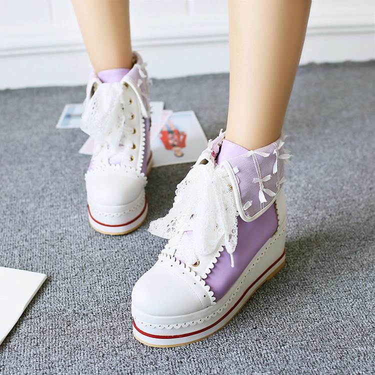 粉红色坡跟鞋 鞋子系带松糕厚底高跟短靴坡跟靴子女橘色白色粉红色大码小码 YYA_推荐淘宝好看的粉红色坡跟鞋