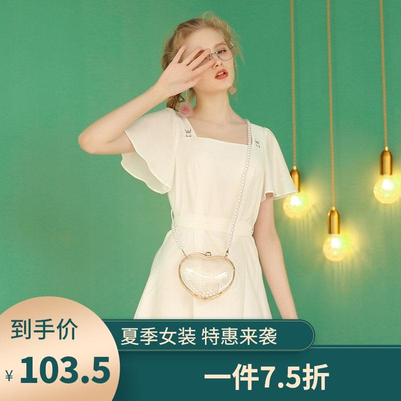 白色修身连衣裙 白色修身连衣裙女夏2021年新款初恋系高腰法式方领气质裙子小个子_推荐淘宝好看的白色修身连衣裙