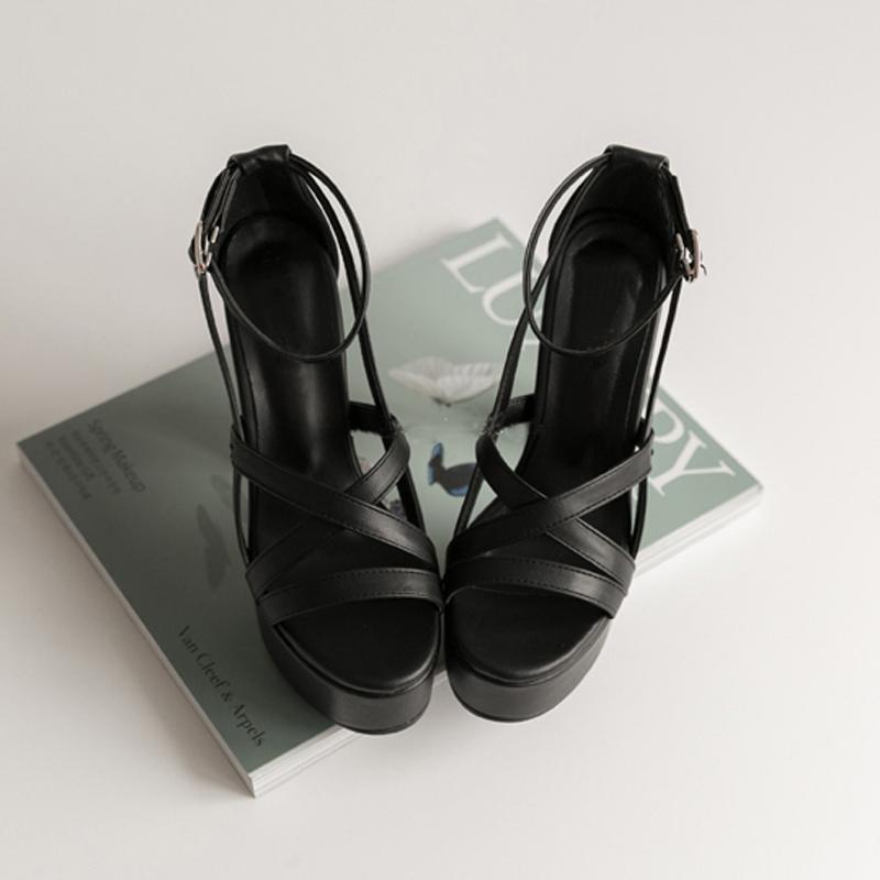 黑色罗马鞋 2021夏季新款真皮粗跟凉鞋女士防水台超高跟鞋罗马黑色复古女鞋_推荐淘宝好看的黑色罗马鞋