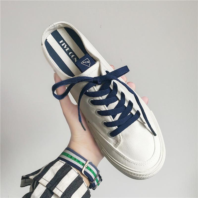 白色帆布鞋 夏季半拖帆布鞋男女情侣白色薄款懒人鞋子潮鞋托无后跟一脚蹬男鞋_推荐淘宝好看的白色帆布鞋