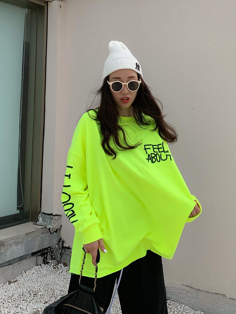 绿色卫衣 推荐 韩国2021春季新款女装薄款毛圈荧光黄绿色字母宽松卫衣_推荐淘宝好看的绿色卫衣