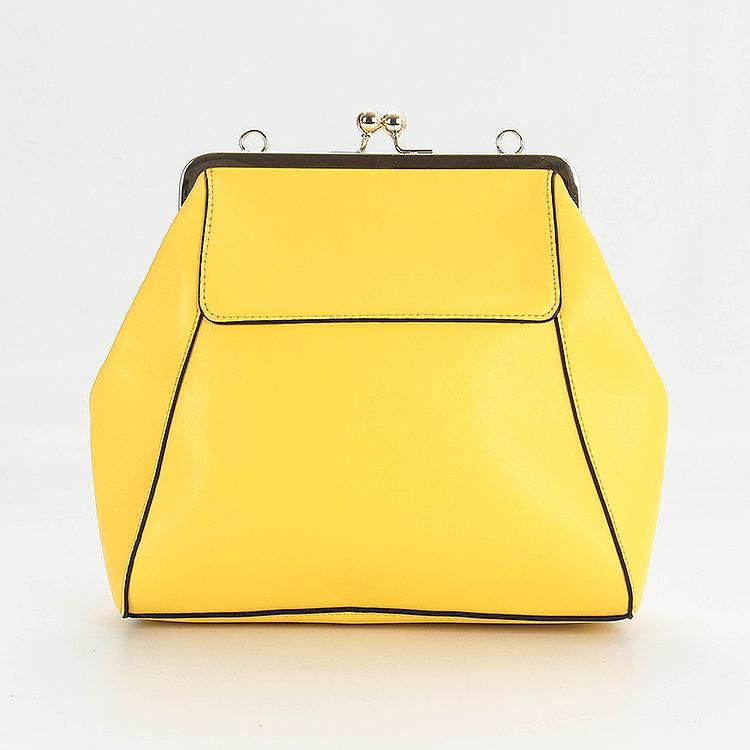 黄色双肩包 乐系列新品专柜撤柜女士黄色时尚简约口金大容量双肩包 77155_推荐淘宝好看的黄色双肩包