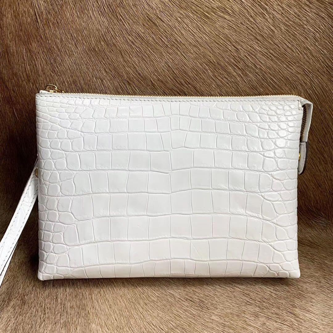 白色信封包 纯白色泰国进口鳄鱼皮手拿包肚皮男款手包信封包真皮夹包简约时尚_推荐淘宝好看的白色信封包