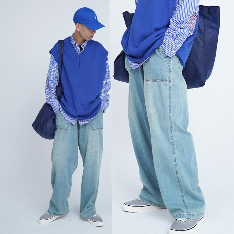 男士浅蓝色牛仔裤 Vitaminless 复古水洗浅蓝色坠感阔腿牛仔裤男女直筒宽松春秋薄款_推荐淘宝好看的男浅蓝色牛仔裤