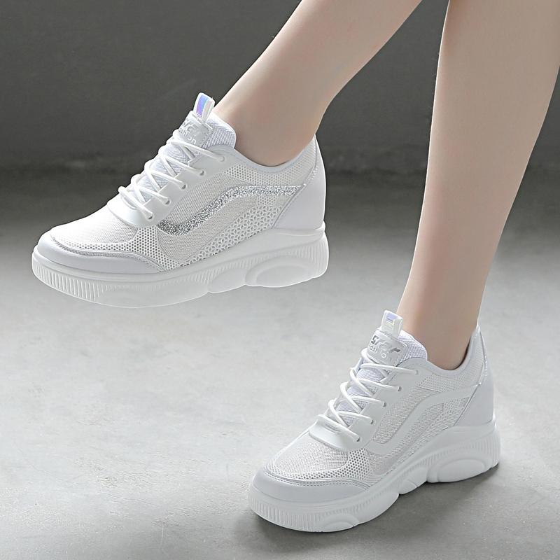 白色厚底鞋 春秋运动鞋女2020新款鞋子百搭内增高小白鞋厚底女鞋白色休闲单鞋_推荐淘宝好看的白色厚底鞋