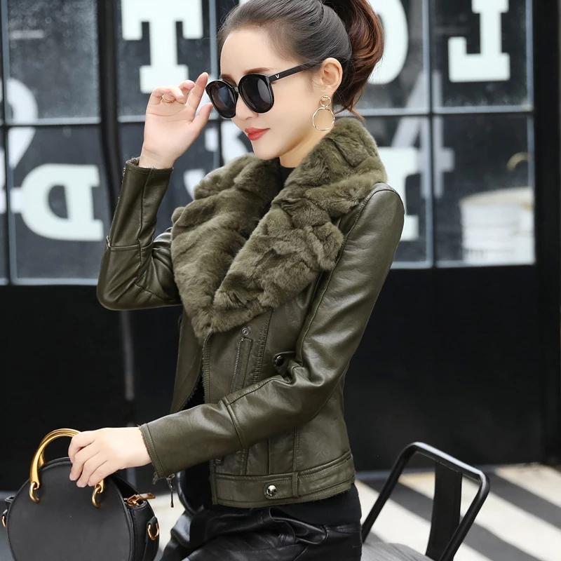 黑色皮衣 画艺比獭兔毛领短款加绒加厚皮衣女军绿黑色修身皮外套2021冬新款_推荐淘宝好看的黑色皮衣
