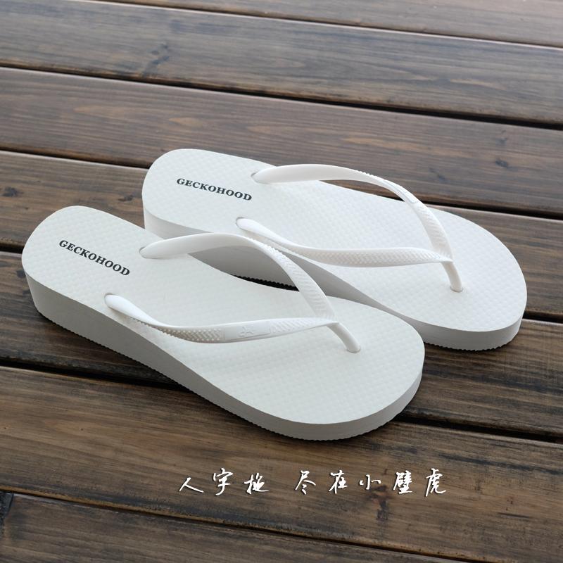 白色松糕鞋 GECKOHOOD 夏坡跟人字拖女欧美厚底松糕沙滩夹脚凉拖鞋防滑白色_推荐淘宝好看的白色松糕鞋