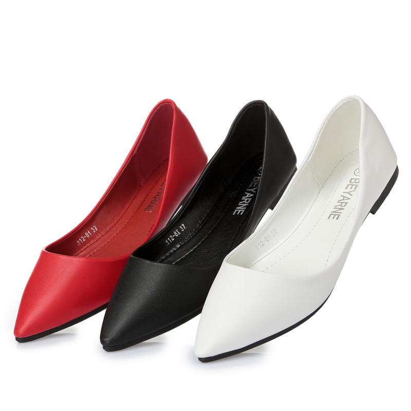 红色平底鞋 夏季尖头平底鞋浅口软底平底正装单鞋女百搭41码大码红色女鞋平跟_推荐淘宝好看的红色平底鞋