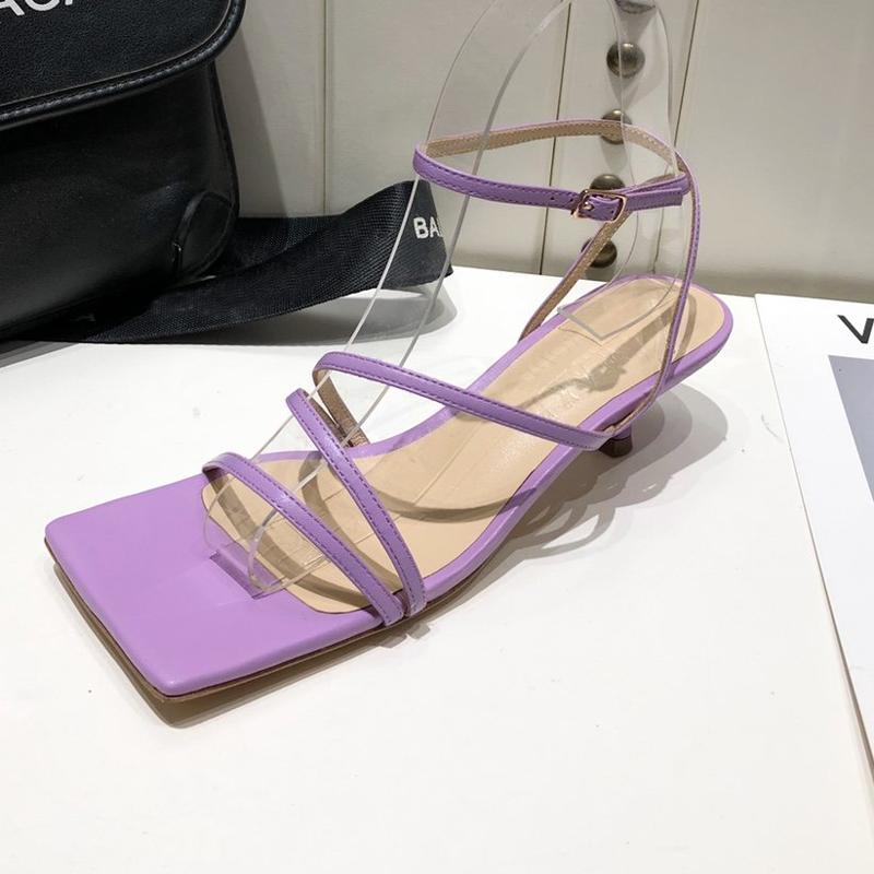 紫色凉鞋 代购Awake Mode凉鞋女紫色一字带SW粗跟真皮中跟仙女BV方头高跟鞋_推荐淘宝好看的紫色凉鞋