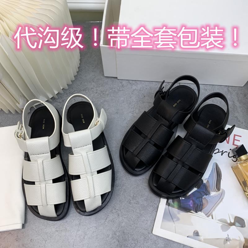 白色罗马鞋 代购the*row凉鞋真皮阿希哥同款厚底拖鞋女白色bv编织包头罗马鞋_推荐淘宝好看的白色罗马鞋
