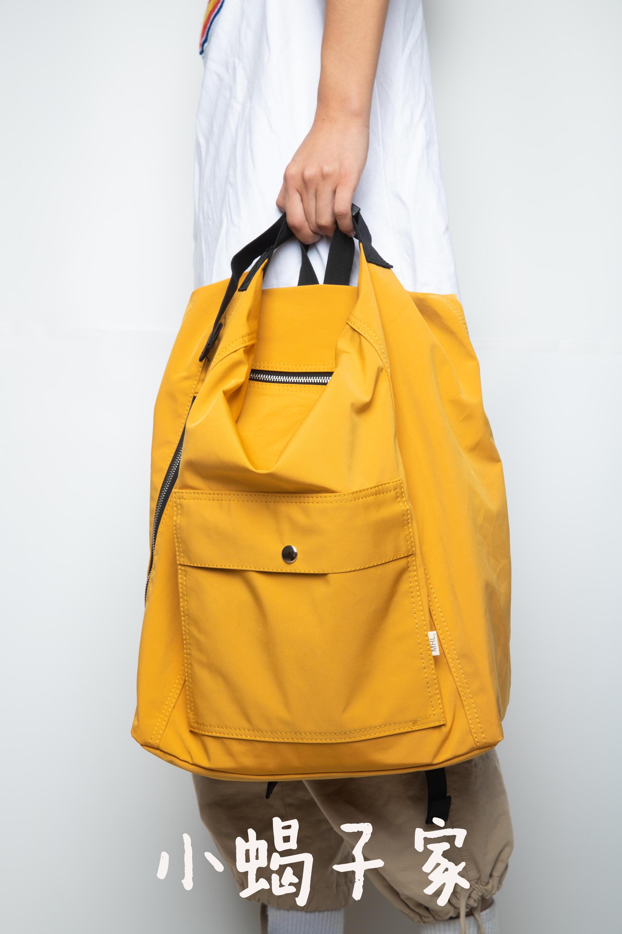 黄色双肩包 OOTD小众日系潮牌校园姜黄色大容量单肩书包 双肩手提两用背包mhl_推荐淘宝好看的黄色双肩包