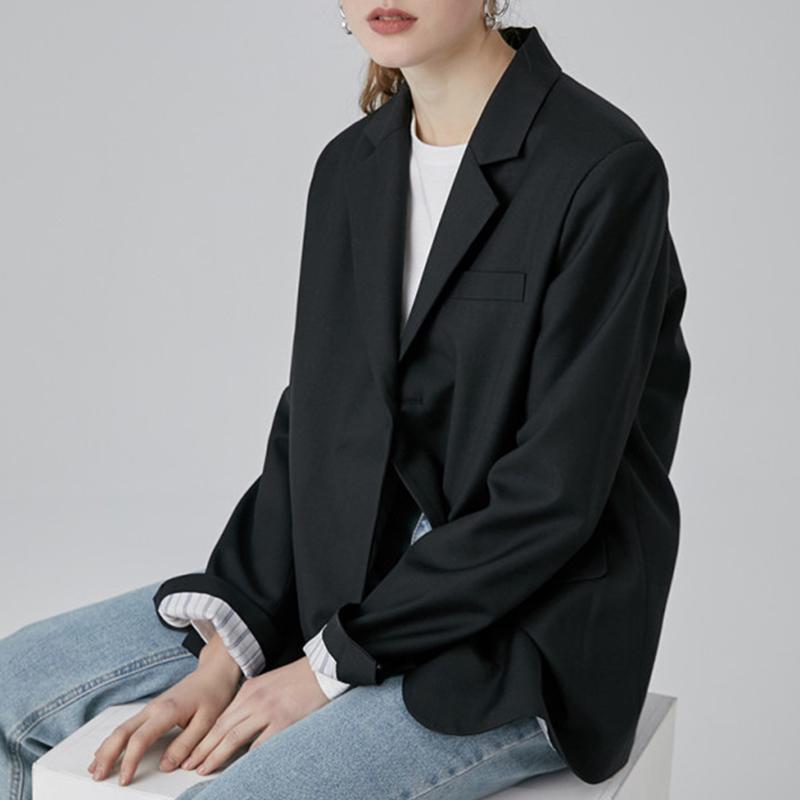 黑色小西装 范洛2020秋季新款黑色韩版条纹翻袖宽松休闲正装西服小西装外套女_推荐淘宝好看的黑色小西装